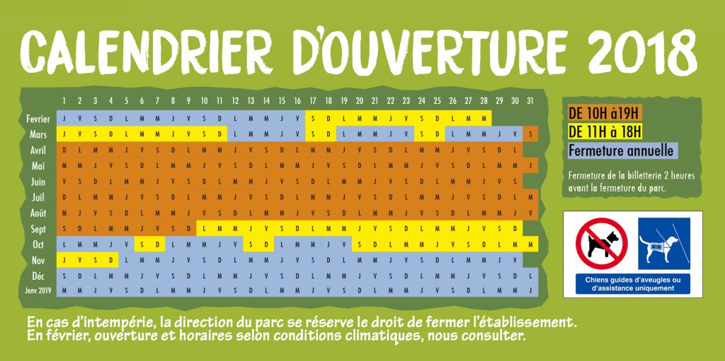 CALENDRIER HORAIRES 2018